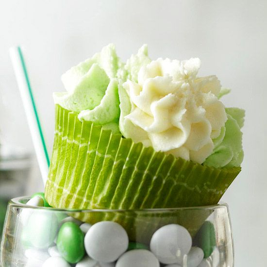 Turn a shamrock shake into a tasty cupcake treat with this homemade recipe! Kids and adults alike will love this mint vanilla St. Patrick's Day dessert topped with homemade white chocolate frosting.