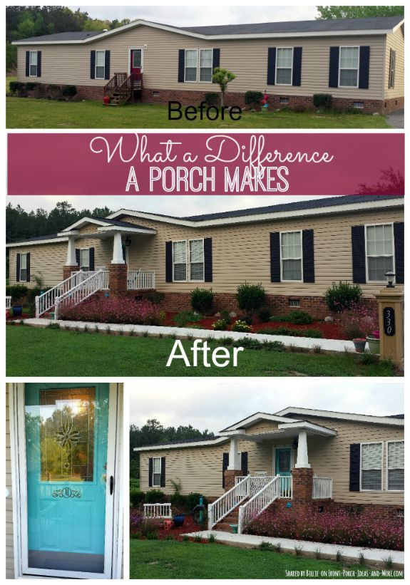 This ranch home was wonderfully transformed with the addition of a porch and nice landscaping. Shown on Front Porch Ideas and More.