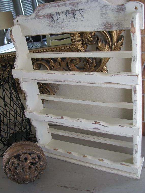 Country Cottage Shabby Chic Spice Rack (just bought a spice rack from Goodwill, want to paint it similar to this!)