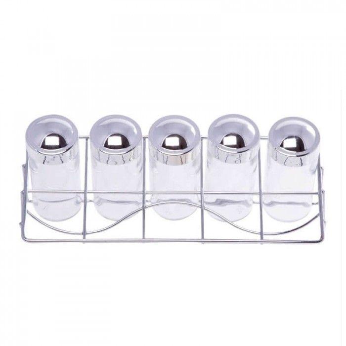 Porta Temperos Horizontal com 5 Potes de Vidro e Base Aramada Supermercado Digital