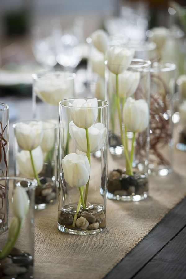 Vases Filled with White Tulips| Whimsical Branches & Paper DIY Wedding Inspiration|Photographer: IJ Photo