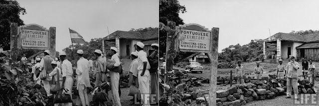 Manifestantes vindos da Índia para libertar Goa do controle Português, aproximando-se do lado  indiano da fronteira. E, posto de fronteira na estrada Karwar, vigiado por tropas portuguesas. 1954.
