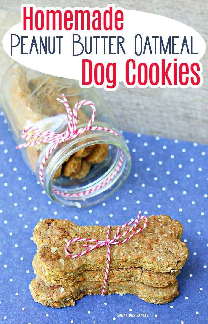 Easy Homemade Peanut Butter Oatmeal Dog Cookies Diy Dog Treats