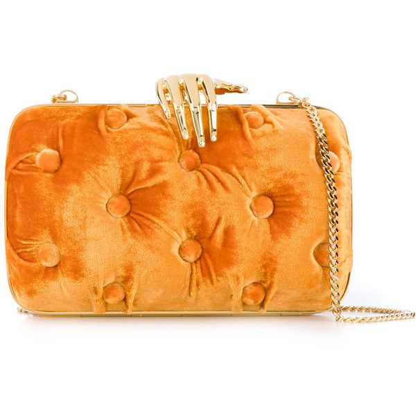 Benedetta Bruzziches hand detail clutch bag ($821) ❤ liked on Polyvore featuring bags, handbags, clutches, velvet handbags, orange clutches, orange handbags, velvet clutches and orange purse