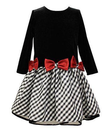 Black & Red Gingham Bow Drop-Waist Dress - Toddler & Girls