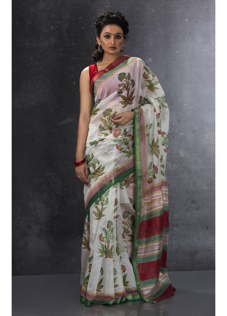 Off white Maheshwari pure silk saree CODE-F3034