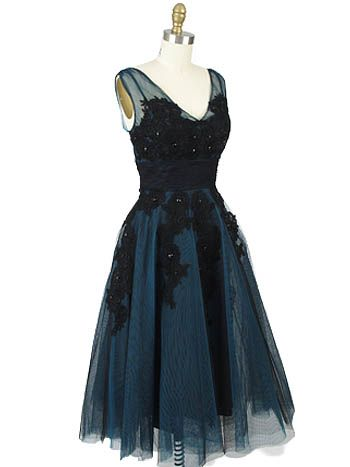 50s Style Black Teal Tulle Tea Length Party Dress