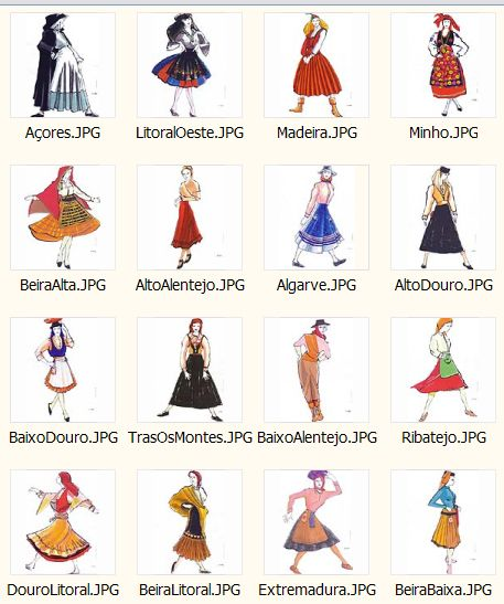 Different Portuguese costumes from different regions of Portugal.