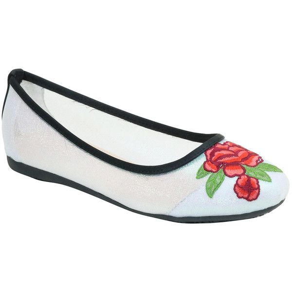 Bolaro White & Red Floral-Embroidered Ballet Flat ($15) ❤ liked on Polyvore featuring shoes, flats, red ballet shoes, ballerina flat shoes, white shoes, ballet shoes and ballet pumps