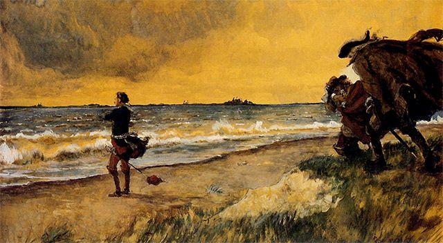 Piotr Wielki myślący nad budową Petersburga na wybrzeżu Morza Bałtyckiego Aleksandr Benois