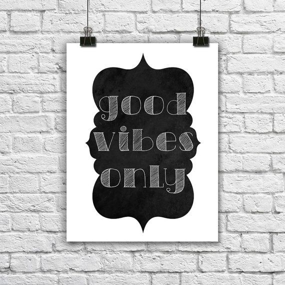 Minimalist Classroom Noise ~ Good vibes only typographic print inspiring by