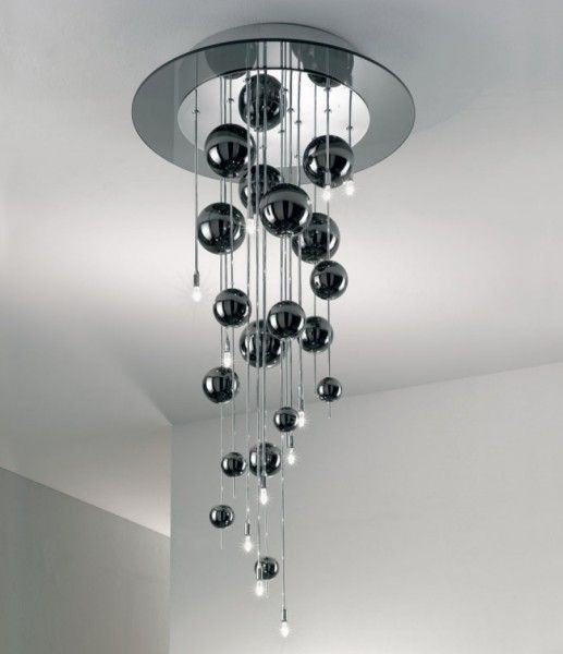 Ceiling lamp Bubbles from LAM Export with 12 G9 Bulbs. Blowen pyred glass in dark smoke color. Chromed metal.