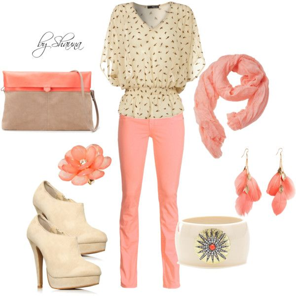 cream and coral: Fashion, Clothing, Shaunarog, Cute Outfits, Colors, Pink Pants, Black Dots, Closet, Coral Cream Blend