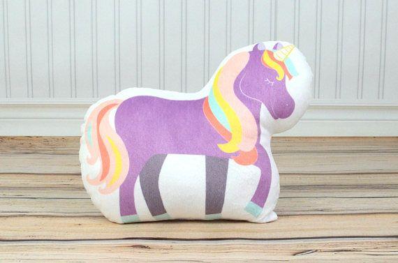 Unicorn Decor, Purple Unicorn, Girls Bedroom Decor, Toy Unicorn, Plush Throw Pillow, Kids Bedding, R
