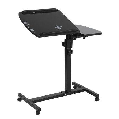 Portable Mobile Rolling Laptop Cart Table Computer Stand Adjustable Desk Tablet