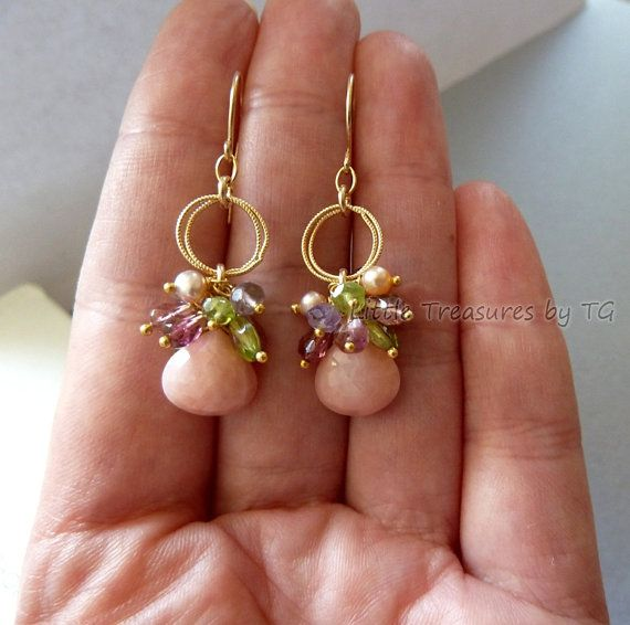 Briolette earring with color clusters