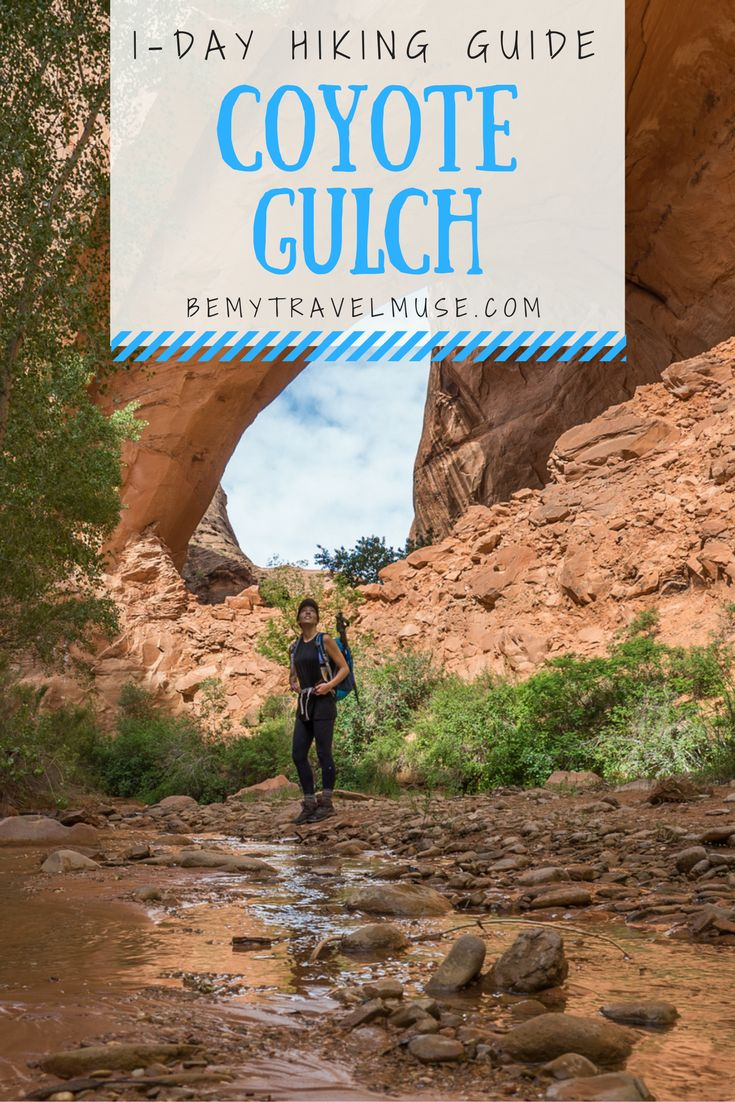 How to hike Coyote Gulch in one day. It's possible via the 'sneaker route', and provides rewarding views of giant orange archways and slow winding rivers.  Practical tips for your trip to Grand Staircase Escalante, Utah. || Be My Travel Muse