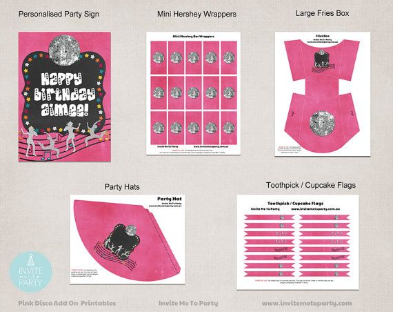 Pink Disco Party Decoration Printables Add On / by InviteMe2Party, $18.00