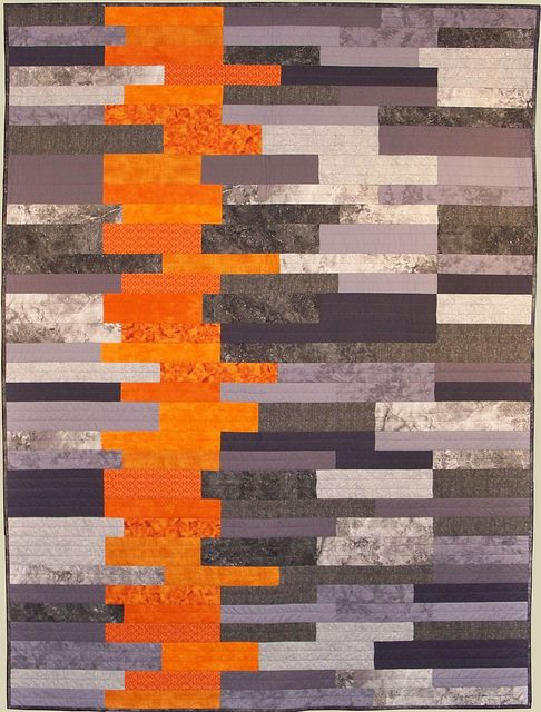 Gray & orange quilt. Strip quilting idea.