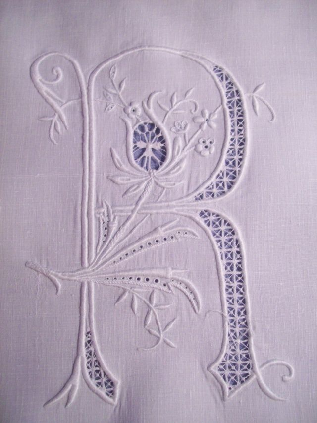 Whitework Embroidery Monogram with needle lace - R