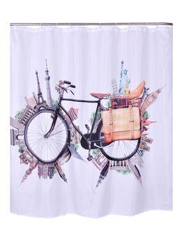 """Путешествие на велосипедов ванной занавески для душа лайнер полиэфирной ткани напечатан водонепроницаемый моющийся мир пейзажи шторы 70 * 72 """""""