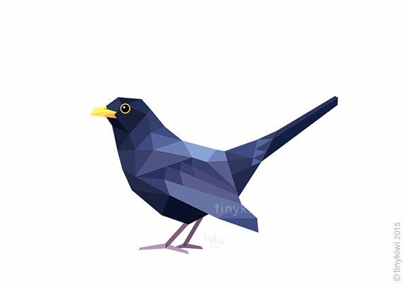 Blackbird for Garden Printable art Geometric by tinykiwiDesigns