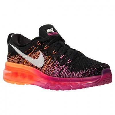 Buy Nike Flyknit Air Max Womens BlackBright MagentaAtomic Orange Running Shoes Onlineromantic