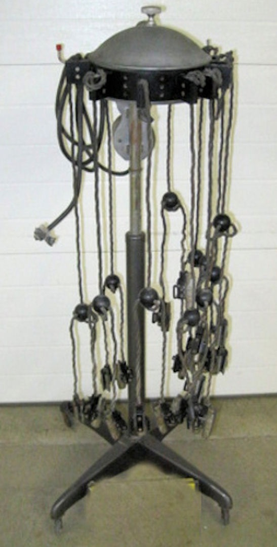 1930's hair curling machine to be turned into a foor lamp.