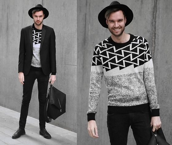 Get this look: http://lb.nu/look/7922752  More looks by Geraint Donovan-Bowen: http://lb.nu/hisnameisfashion  Items in this look:  Topman Fedora, Antony Morato Blazer, Antony Morato Jumper, Nudie Jeans Jeans, Antony Morato Backpack, River Island Shoes   #chic #dapper #minimal