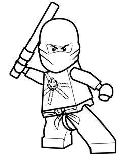 Coloriage et dessin de Ninjago à imprimer - Coloriage ninja rouge Kai                                                                                                                                                                                 Plus