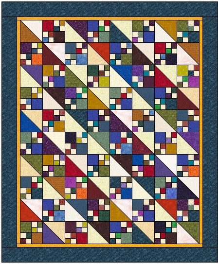 easy doulbe four patch quilt | ... second light diagonal line by rotating her 4 patches in the block