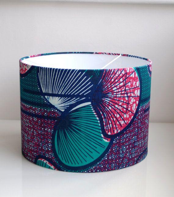 BluePinkGreen Flower/Graphic Lampshade 100% African Wax