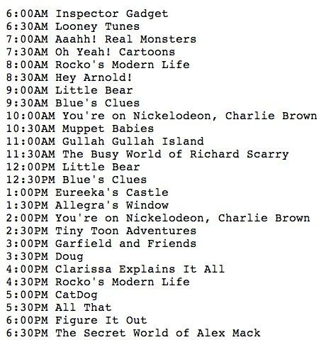 Nickelodeon's Daytime Schedule (roughly) in 1998. I doubt kid's tv will ever be quite so excellent again.