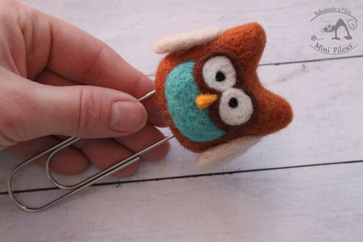 Brown owl - felted paperclip