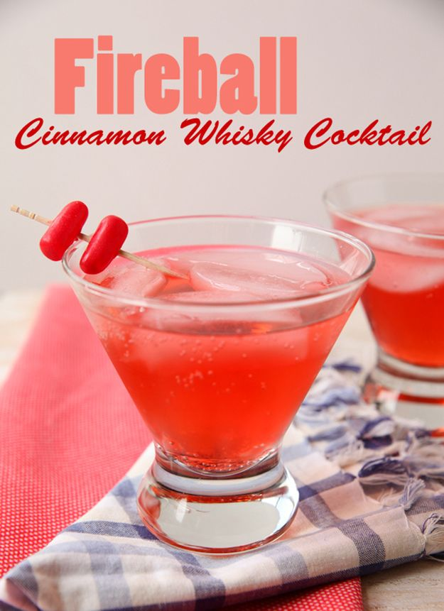 Fireball Cinnamon Whisky Cocktail | Drinks and Cocktail Recipes for Your Fourth Of July Party | How To Make The Best 4th Of July Cocktail Recipes | diyready.com