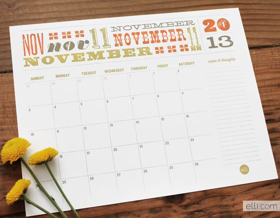 Free Printable November Calendar
