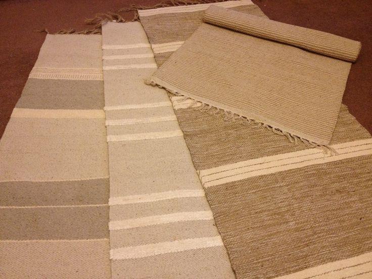 Handloomed Cotton Jute Runner Rug 70 X 200cm Natural Cream Grey Brown Stripes