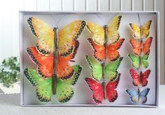 12 Deko-Schmetterlinge mit Clip