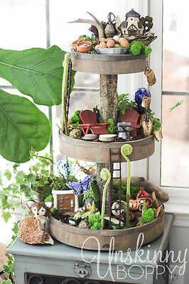 Three tiered fairy garden
