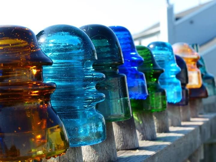 17 best images about old telegraph glass porcelain for Glass telephone pole insulators