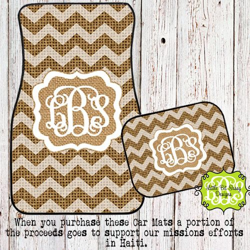 Car Mats Burlap Chevron Personalized Monogrammed Floor Car Mat Initial Brown White Tan on Etsy, $32.00