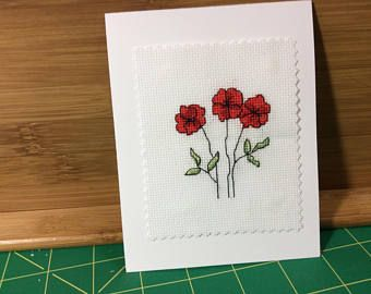 Cross stitch greeting card red flowers