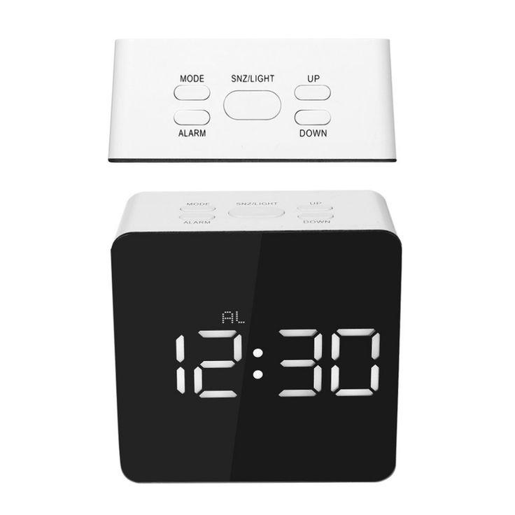 2017 TS S70 Multifonctionnel Numérique LED Réveil Avec Température Snooze Forme Carrée Miroir Horloge 2 Luminescence Lumière Niveau dans Horloges de bureau & de table de Maison & Jardin sur AliExpress.com | Alibaba Group
