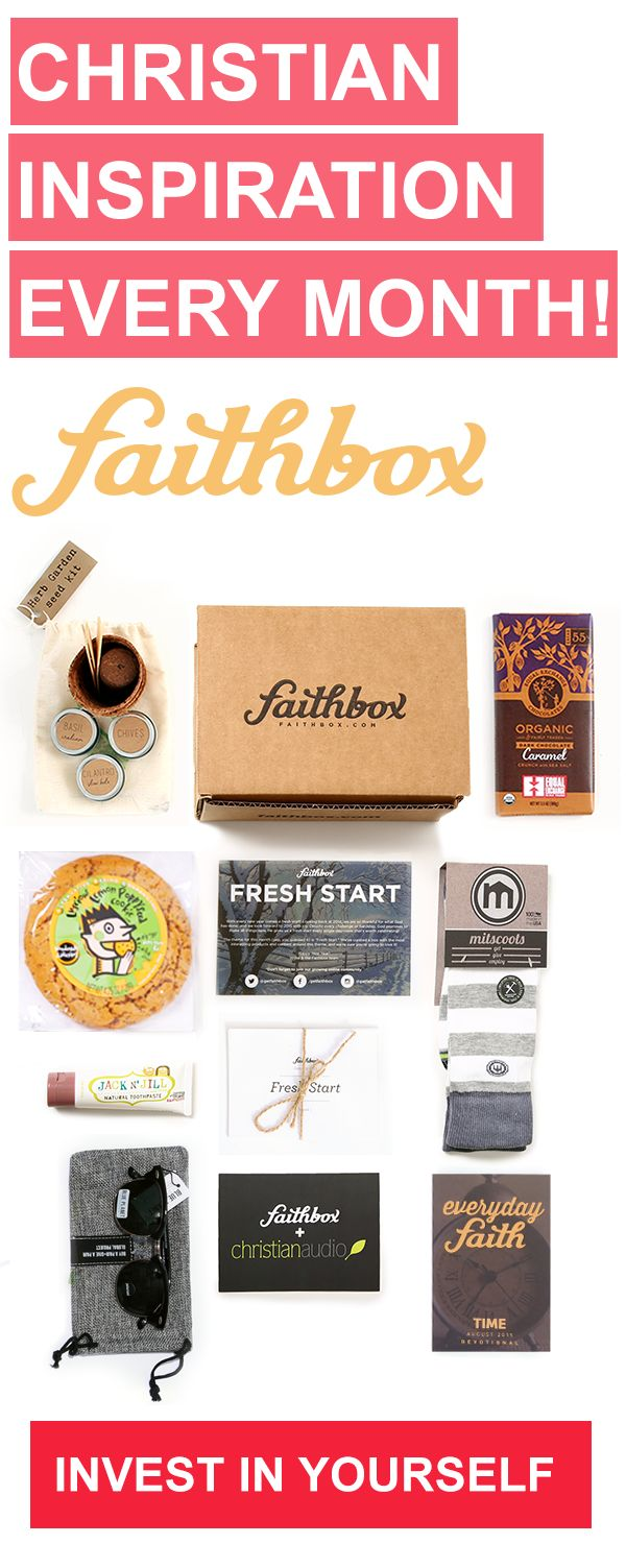 Faithbox is a monthly box for Christians filled with our everyday devotional, products from companies that respect God's creation, and for each box we ship, we provide three meals to Christian orphanages!
