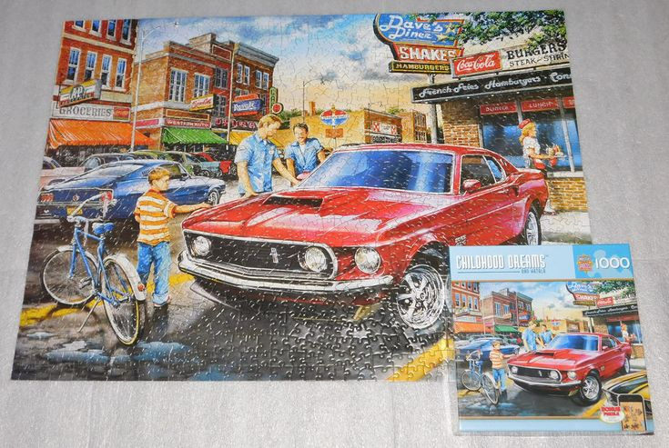 Dave Diner Childhood Dreams Dan Hatala Jigsaw Puzzle 1000 Pieces 27x19 Mustang #MasterPieces
