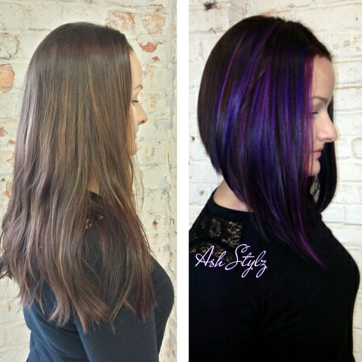 Long angled bob, with purple dimensions. | Modern Salon