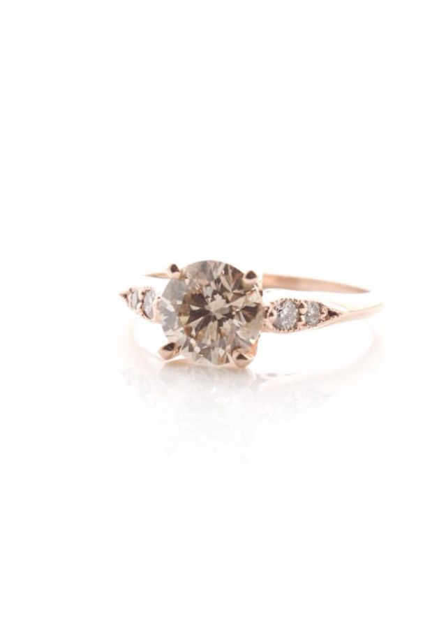 Cavalier Gastown: Champagne Round Cut Diamond Rose Gold Engagement Ring