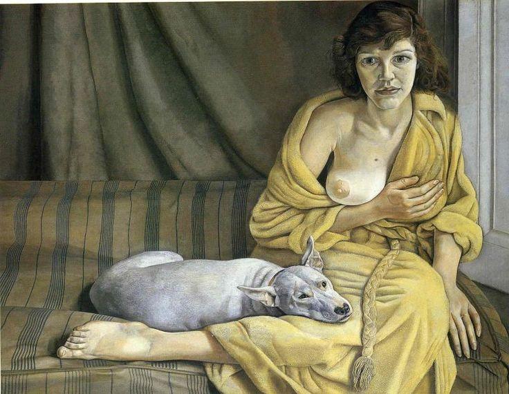 Художник - Люсьен Фрейд, картина «Девушка с белой собакой»: Портрет