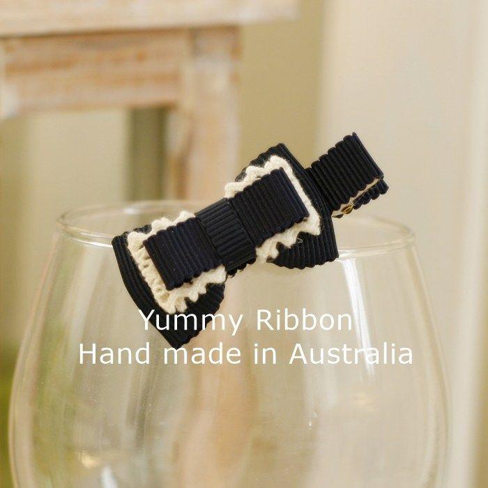 Navy Grac| s09  Minisize ribbon bow clip  100% Handmade in Australia  Bow size: 5cm x 2.5cm (apporx)  Clip length : 5cm(alligator clip)