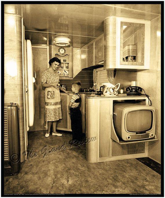 1950s Schult Mobile Home Interior - Classic Trailer Park Living .. Love the portable TV.